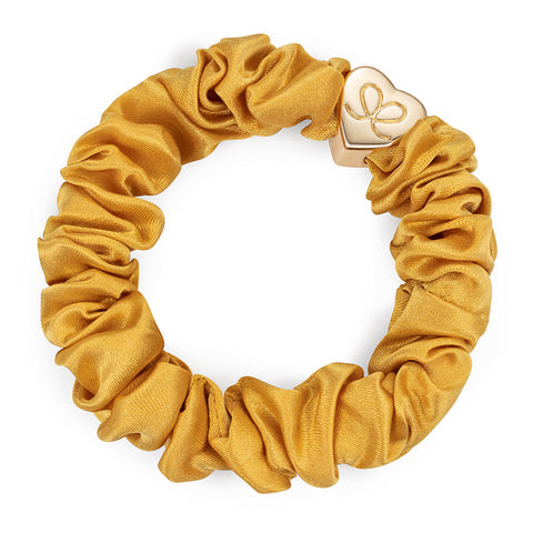 Gold Heart Charm Scrunchie - Yellow