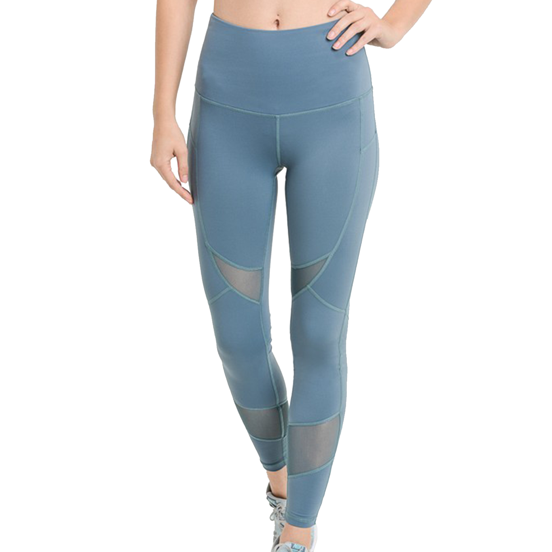 Slate Blue Cross Mesh Leggings