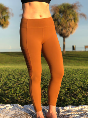 Antique Gold Moto Ribbed Leggings