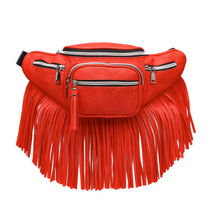 Red Fringe Fanny Pack