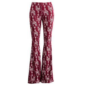 Crimson Elephant Print Bell Bottom Leggings