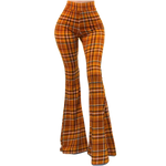 Plaid Bell Bottom Leggings