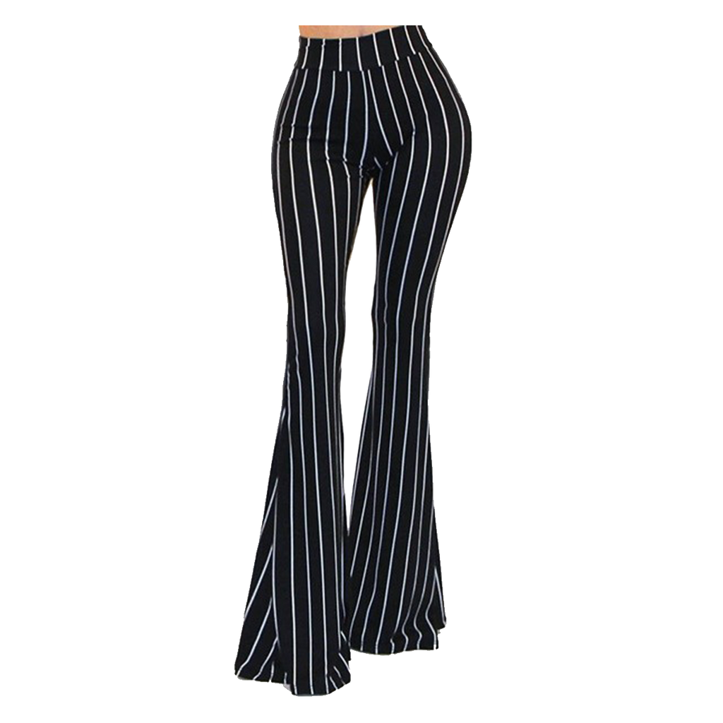 Black & White Cirque Stripe Bell Bottom Yoga Pants