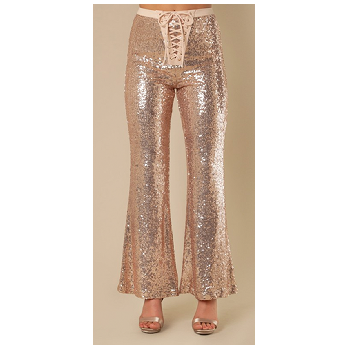 Rose Gold Lace-Up Sequin Bell Bottom Yoga Pants