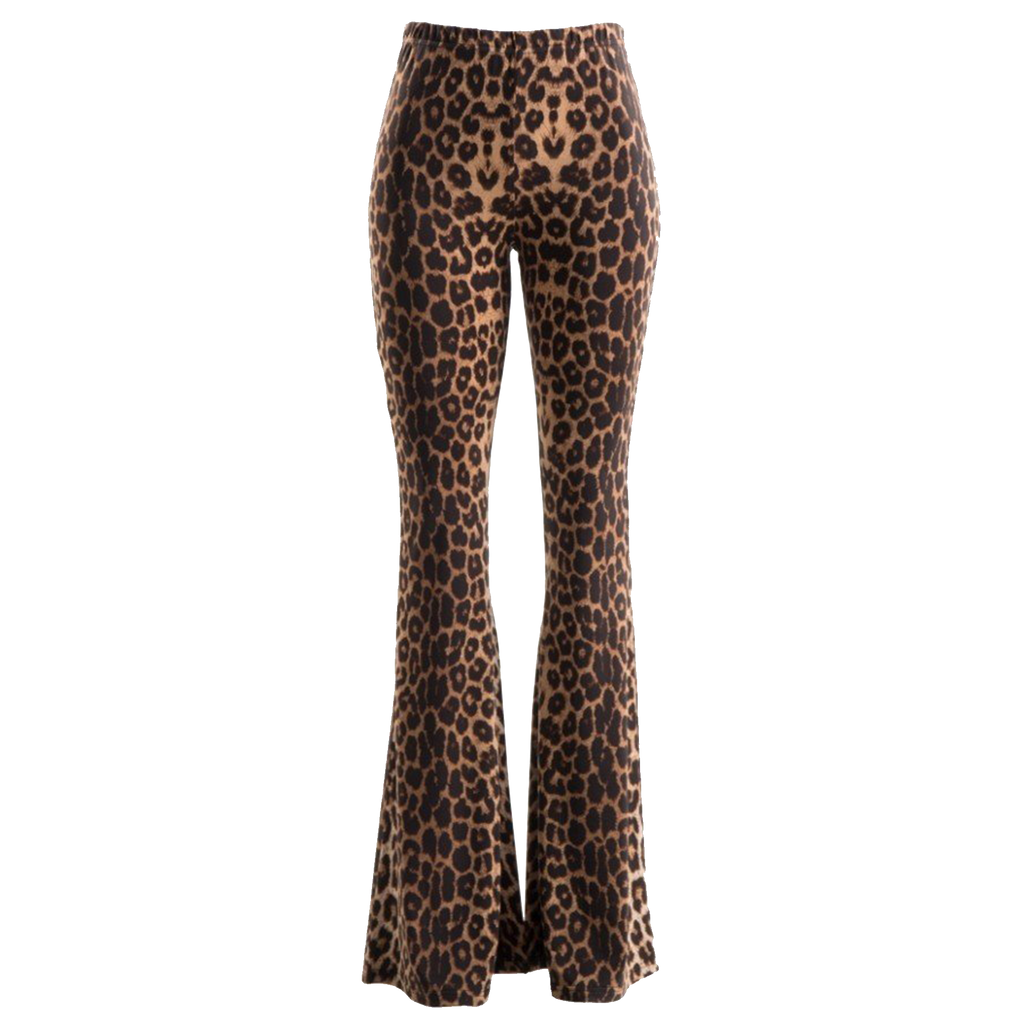Leopard Print Bell Bottom Leggings