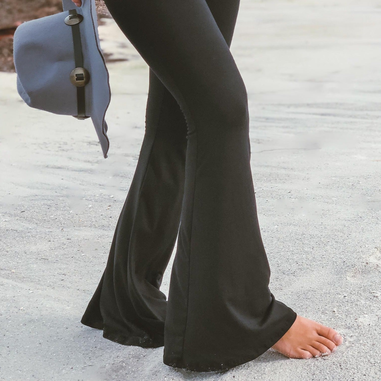 Solid Black Bell Bottom Yoga Pants