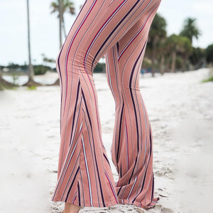 Candy Stripe Pink Bell Bottom Yoga Pants