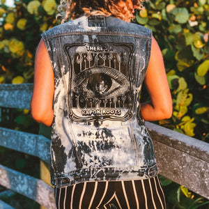 Crystal for That Bleached Unisex Sleeveless Denim Vest