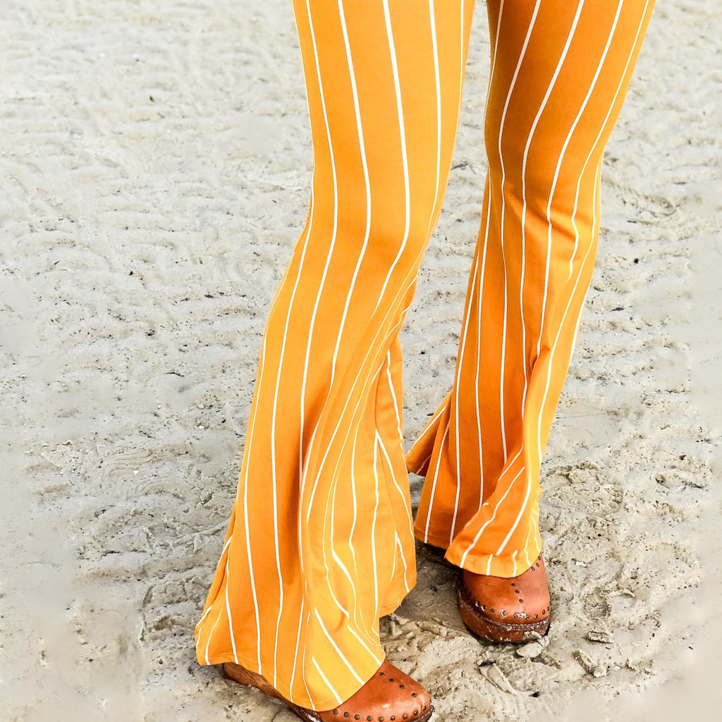 Yellow Sunny Striped Bell Bottom Leggings