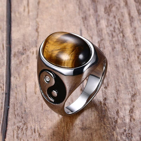 Vintage Stainless Steel  Tiger Eye Brown Stones with Yin Yang Symbol Ring