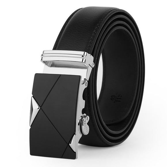 Luxury Silver Leather Strap Automatic Buckle Belts