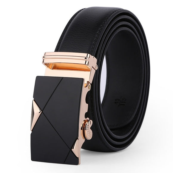 Luxury Gold and Black Leather Strap Automatic Buckle Belt