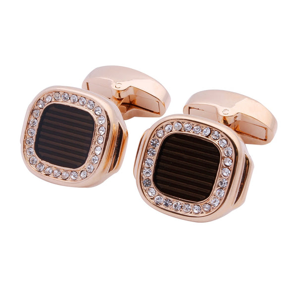 Rose Gold Crystal Cufflinks