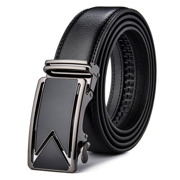 Genuine Black Leather Automatic Buckle Belt