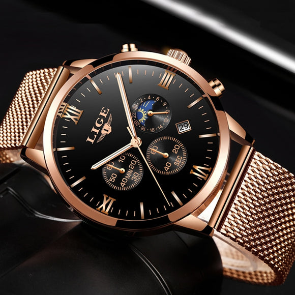 Gold Quartz Mesh Steel Waterproof Sport Wristwatch