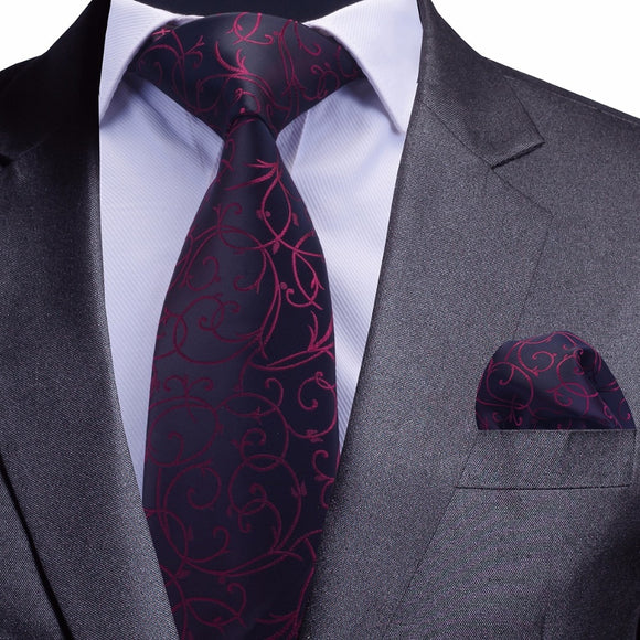 Floral Tie and Handkerchief Silver Necktie & Pocket Square