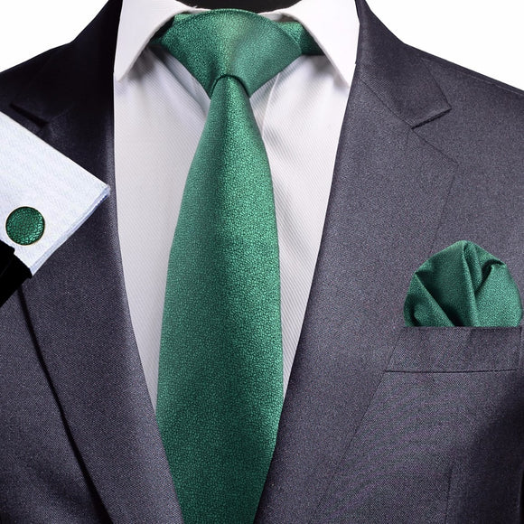 8 cm Green Jacquard Silk Necktie plus Handkerchief & Cufflinks Set