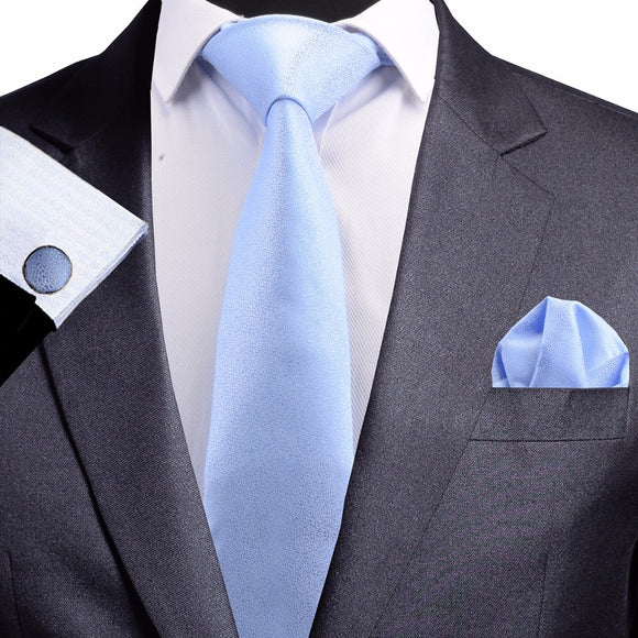 8 cm Light Blue Jacquard Silk Necktie plus Handkerchief & Cufflinks Set
