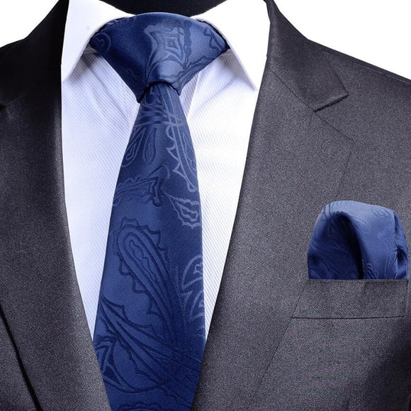 Quality Blue Paisley Necktie and Pocket Square Set