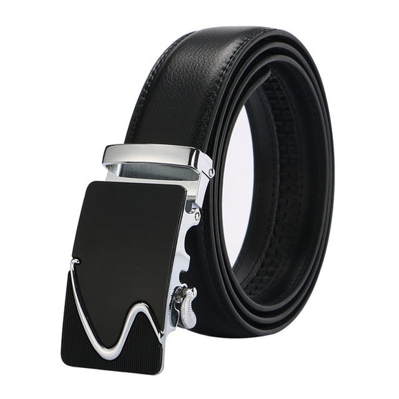 Luxury Silver and Black Leather Strap Automatic Buckle Belt