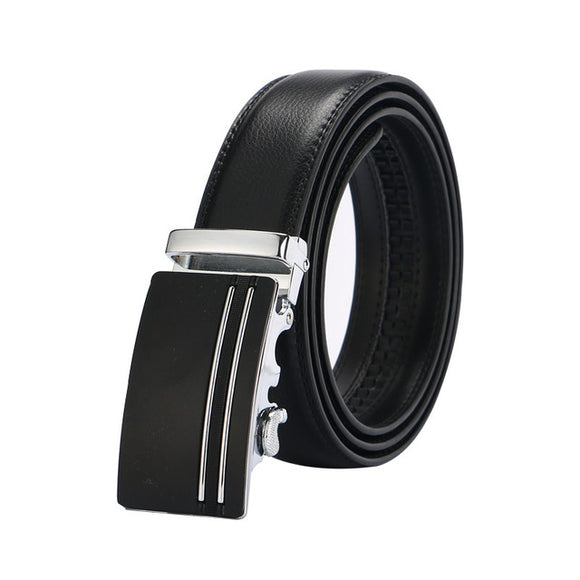 Luxury Sliver and Black Leather Strap Automatic Buckle Belt