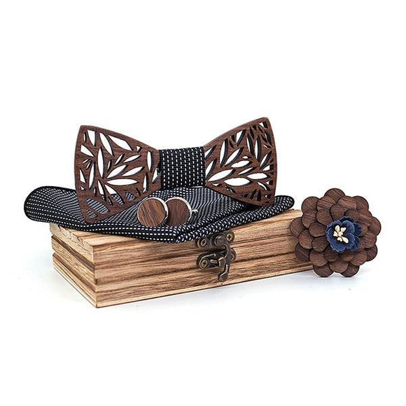 Paisley Wooden Bow Ty & Black Dot Handkerchief Set