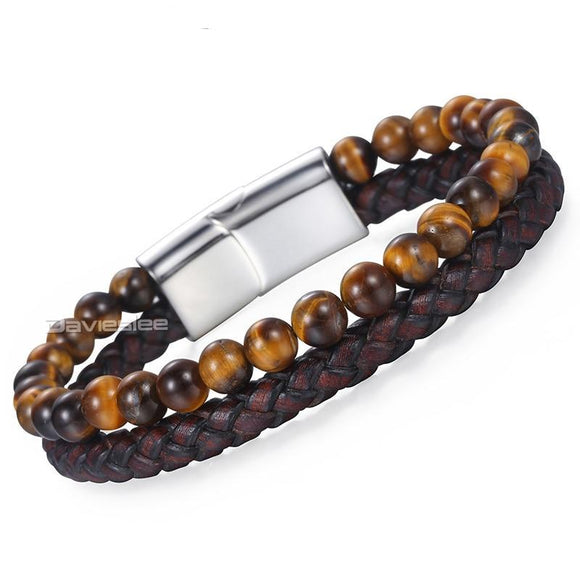 Magnetic Clasp Brown Genuine Leather Tiger Eye Stone Beads Bracelet