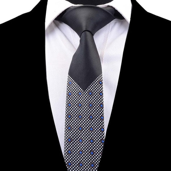 Black Colorful Design Slim Necktie