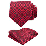 Red Paisley Silk Necktie and Pocket Square Set