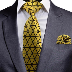 Solid Yellow Black Striped Silk Necktie and Pocket Square Set