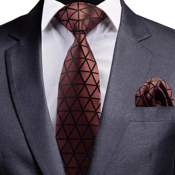 Solid Brown Black Design Silk Necktie and Pocket Square Set