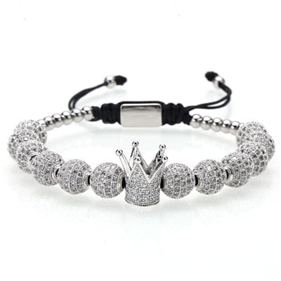 Silver Stainless Steel Beads & Crown Bracelet