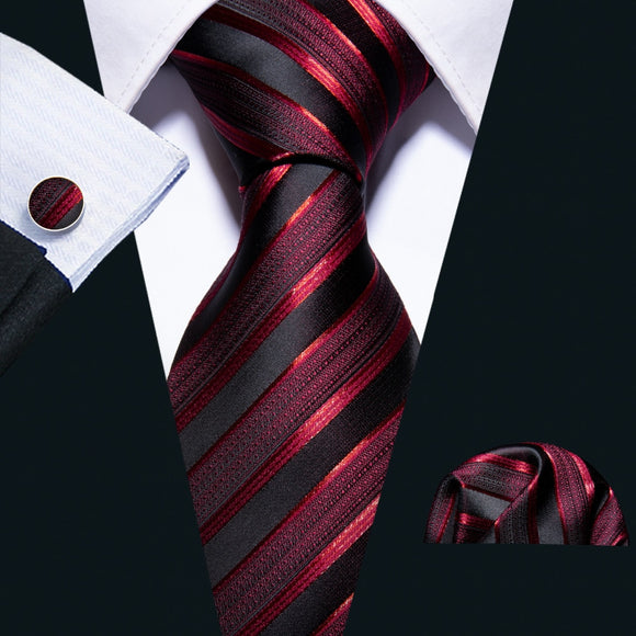 8.5cm Red Striped Necktie plus Handkerchief & Cufflink Set