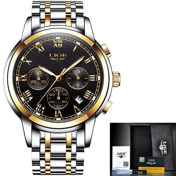 Luxury Chronograph Sports Waterproof Full Steel Quartz Wristwatch
