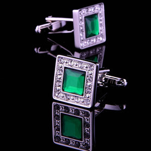 Unique Silver and Green Stone Cufflinks