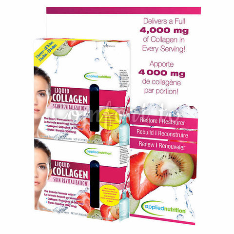 Applied Nutrition Liquid Collagen 4000 mg Skin Revitalization Liquid–Tubes Strawberry & Kiwi, 2 x 10 tubes