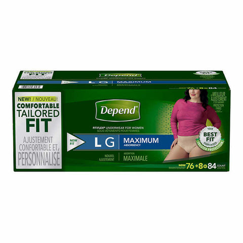 Depend Underwear For Women L, 84 units