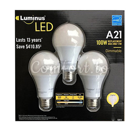 Luminus Dimmable A21 LED 100W Reokacement, 3 units