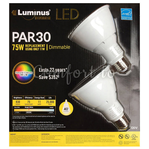 Luminus Led 10W PAR 30 Flood  75W Replacement, 2 units