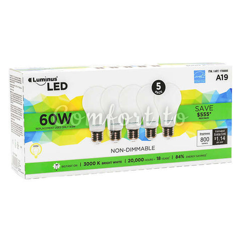 Luminus Non-Dimmable A19 LED, 5 units