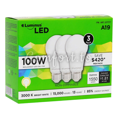 Luminus Non-Dimmable Led A19, 3 units