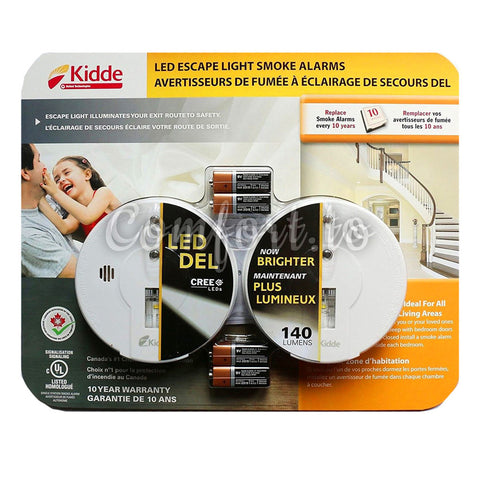 Kidde Smoke/Fire Alarm With Hush And Safety Cree Led Escape Light, 2 units