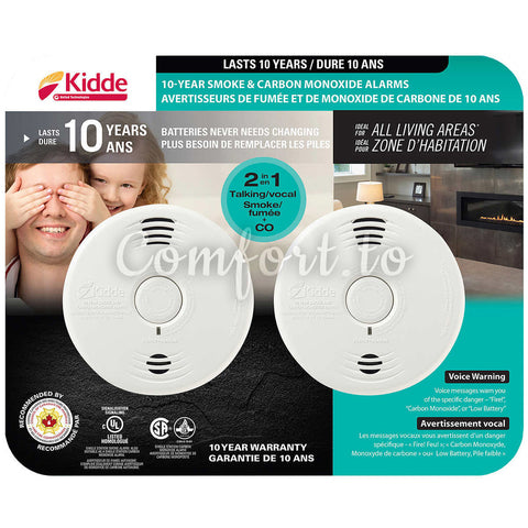 Kidde 10-Year Battery-Operated Worry-Free Talking Combination Alarm 2-Pack, 2 units