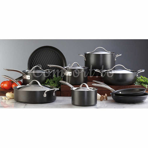 Kirkland Signature Hard Anodized 15-Piece Cookware Set, 15 pieces