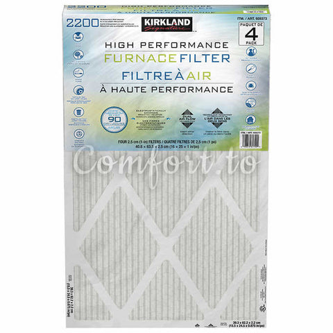 Kirkland Signature MPR 2200 16 X 25 X 1 Healthy Living Elite Allergen Reduction Ac Furnace Air Filter, 4 units