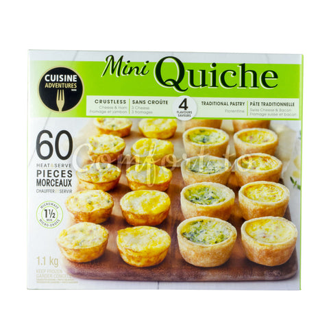 Cuisine Adventure Frozen Mini Quiche Variety Box, 1.1 kg