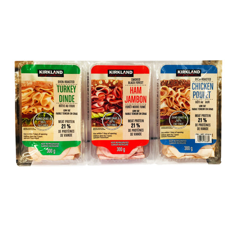 Kirkland Sliced Meat Turkey Chicken & Ham, 3 x 300 g