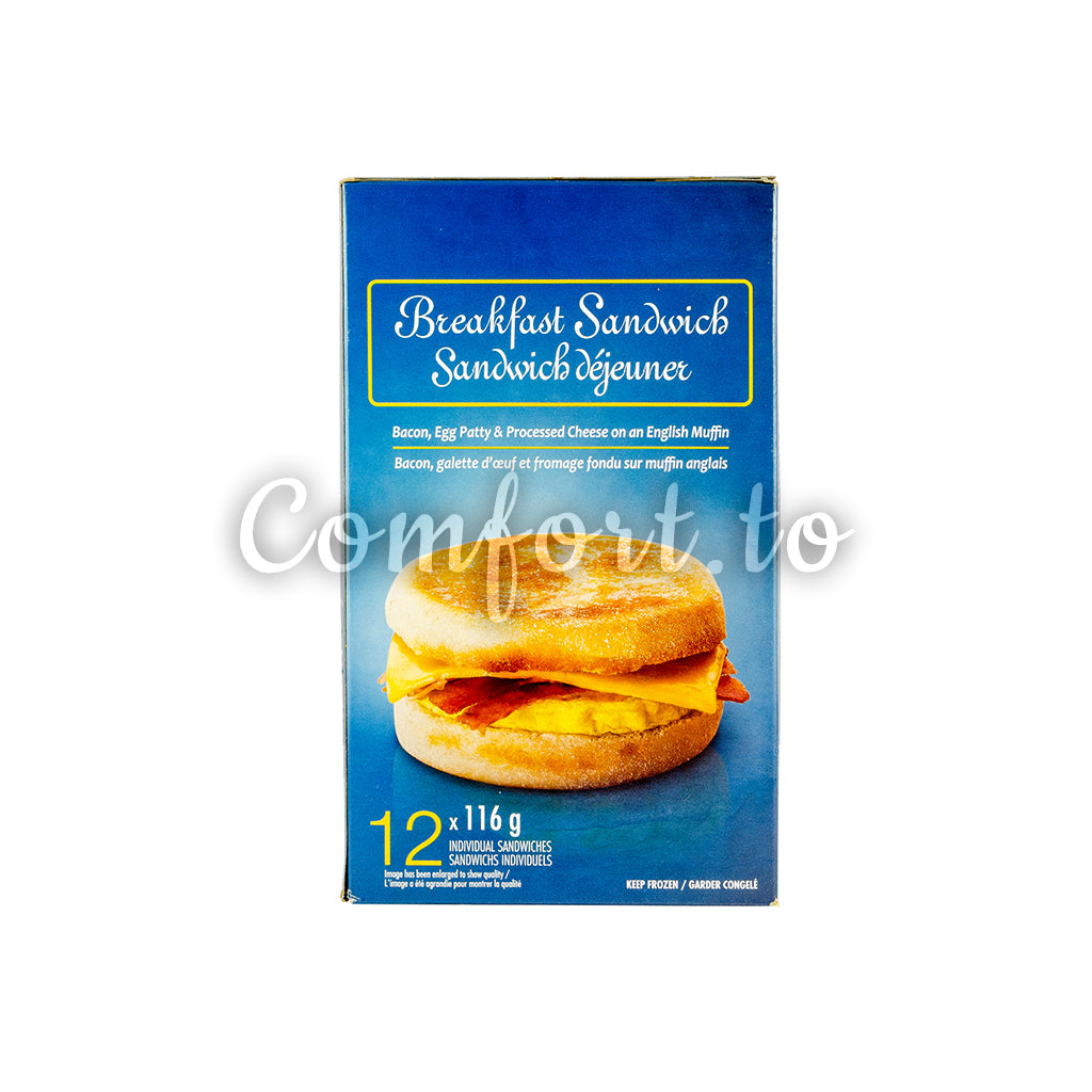 Frozen Breakfast Sandwich Bacon, Egg & Processed Cheese, 116 g