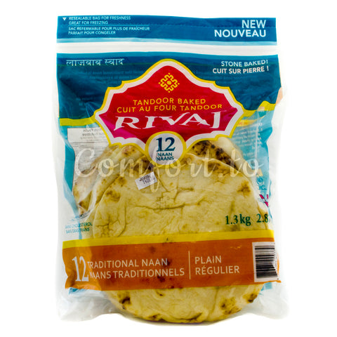 Rivaj Traditional Plain Naan , 12 x 108 g
