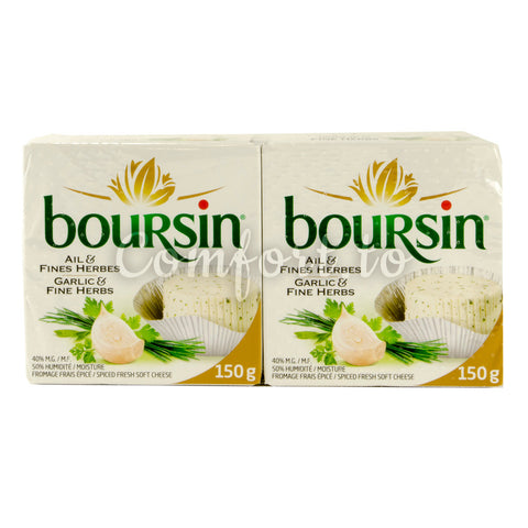 Boursin Garlic and Fine Herbs Cheese, 2 x 150 g